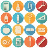 School  icons flat set - vector illustration