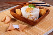 Rice With Chicken Meat And Fortune Cookie