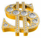 Golden 3D Dollar Symbol Incrusted With Diamonds