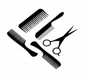 A hair scissors and four combs