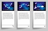 foto of pisces  - Set or collection horoscope or zodiac or constellation capricorn - JPG