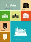 Landmarks of Austria. Set of color icons in Metro style. Editable vector illustration.