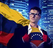 Businessman Superhero Country Venezuela Flag Culture Power Concept
