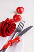 Festive table setting for Valentines Day on light background