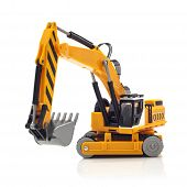 stock photo of power-shovel  - Yellow Toy Digger on a White Background - JPG