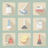 stock photo of vacuum pump  - Cleaning flat icons  with plunger bucket Broom sponge and vacuum cleaner - JPG