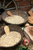Bowls of cereal grains