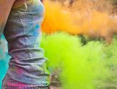 Happy Young Girl On Holi Color Festival