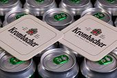 Pattern From Much Of Drinking Cans Of Beer And Krombacher Beermats.