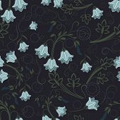 Seamless bell-flower floral vector wallpaper pattern.