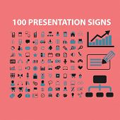 100 presentation, business, management, economics icons, signs, symbols, illustrations set on background, vector