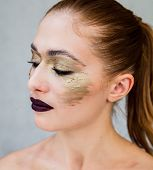 Beautiful Young Woman With Professional Makeup. Fashion Image With Professional Cosmetics. Neat Youn
