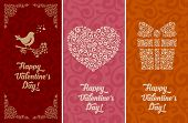 Set of artistic vintage card for Valentines Day. Vector illustration