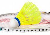 Shuttlecock Lying On The Badminton Racket