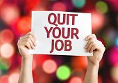 Quit Your Job card with colorful background with defocused lights