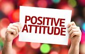 Positive Attitude card with colorful background with defocused lights