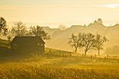 Countryside Landscape Golden Morning Fog