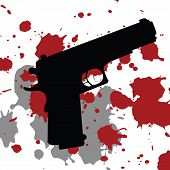 Background With Gun Gun And Blood Spots