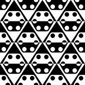 Seamless Rhombus, Hexagon and Circle Pattern. Vector Geometric Background. Regular Black and White Texture
