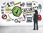 Businessman Writing Planning Security Protection Firewall Concept