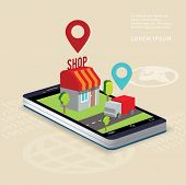 Flat isometric illustration e-commerce and on-line shopping tablet or smart phone .