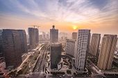 skyline,buildings and cityscape of modern city,hangzhou,during sunset.