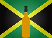 Jamaican Flag With A Bottle Of Rum