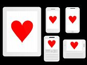Mobile Devices With Poker Hearts White