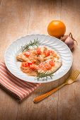 escalope with shallot and grapefruit