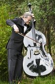stock photo of double-bass  - man in tuxedo playing the double bass in park - JPG