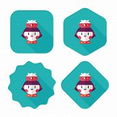 Pet Fish And Girl Friendship Flat Icon With Long Shadow,eps10
