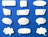 set of paper chat icons