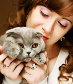 picture of scottish-fold  - Young woman with scottish - JPG
