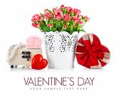 Bunch roses and gift on valentines day. Isolated on white background