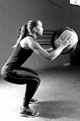 Woman Doing Ball Slams Exercise - Workout.