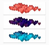 Horizontal Banners With Hearts