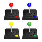 picture of arcade  - Arcade Joysticks in Red Blue Green Yellow - JPG