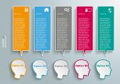 5 Heads Colored Speech Bubble Banners