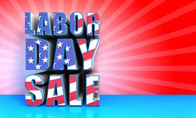 image of special day  - 3D rendered labor day sale text with USA Flag effect great background for your labor day sale event promotions - JPG