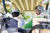foto of golf bag  - Golfing friends driving in their golf at the golf course - JPG