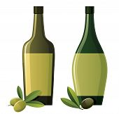 picture of olive branch  - Bottle of olive oil and olive branches - JPG