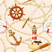 stock photo of lifeline  - Marine vector background with lighthouse - JPG