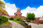 picture of bavaria  - The beautiful inner yard with Fachwerk houses - JPG