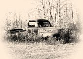 stock photo of junk-yard  - old pickup truck body in the junk yard - JPG