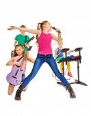 pic of singing  - Four kids playing on musical instruments together as rock group and girl singing as vocalist in front on white background - JPG