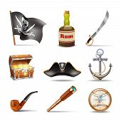 foto of anchor  - Pirate icons set colorful with jolly roger rum sabre treasure chest looking glass gold compass cocked hat anchor and pipe isolated vector illustration - JPG