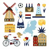 stock photo of windmills  - Netherlands symbols set with windmills  bicycle cheese isolated vector illustration - JPG