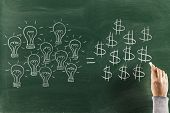 picture of prosperity sign  - Lightsbulbs and dollar signs on blackboard Conceptual ideas sketched on chalkboard - JPG