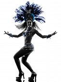 picture of samba  - one  woman samba dancer dancing silhouette on white background - JPG