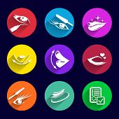 picture of foundation  - Cosmetics Icons set illustration lipstick brush foundation female  pencil mascara - JPG